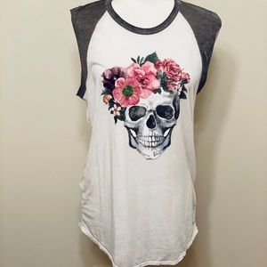 EXPRESS 🖤 Skull Floral Muscle Tank ☠️🌸